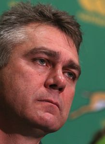 Heyneke Meyer the South Africa head coach faces the media