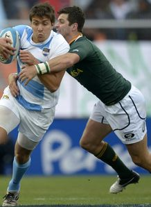 Lucas Gonzalez Amorosino tackled by Morne Steyn