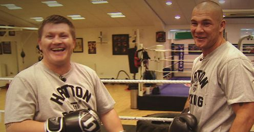 Stomach for it: Ricky Hatton shows Jamie Moore the bodyshot