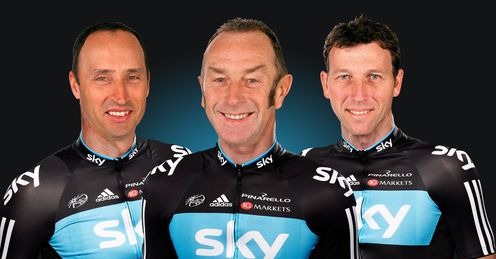 Team Sky: Bradley 'Bumble' Wiggins, flanked by not-so Swift Nass and 'Mike' Cavendish