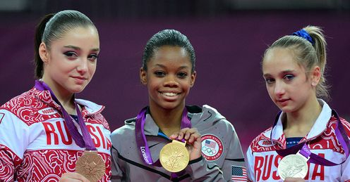 Gabrielle Douglas Victoria Komova Aliya Mustafina Women s Individual All Round Russia London 2012 Olympic Games4