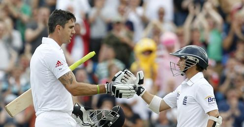 Large and little: Pietersen (L) and Taylor batted well at Headingley
