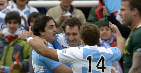 Santiago Fernandez try celebration Argentina v South Africa