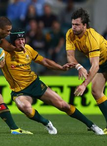 Berrick Barnes and Adam Ashley Cooper of the Wallabies during Rugby Championship