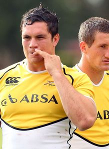 Francois Louw with Johan Goosen