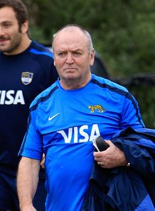Graham Henry arrives during an Argentina training