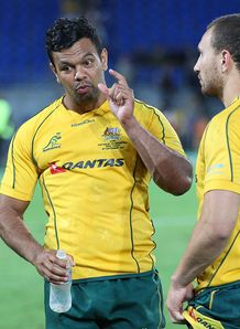 Kurtley Beale chatting with Quade Cooper