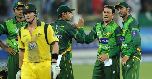 Saeed Ajmal celebrates wicket of Shane Watson Pakistan Australia T20 Dubai