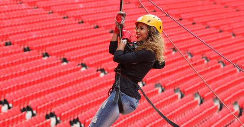 Amanda from Cover Drive Saracens Wembley Zip Wire