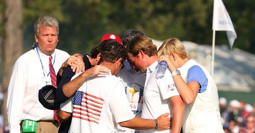 Bubba Watson Webb Simpson praying Ryder Cup day one fourballs