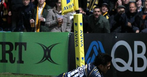 David Lemi scores Worcester v London Irish Aviva Premiership 2012