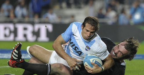 Gonzalo Camacho stretches to score against the All Blacks
