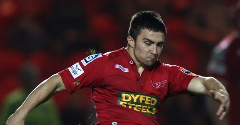 Jordan Williams of the Scarlets red
