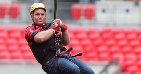 Matt Stevens Saracens Wembley Zip Wire