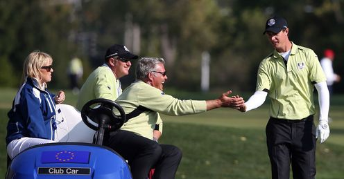 Nicolas Colsaerts congratulated Ryder Cup day one fourballs