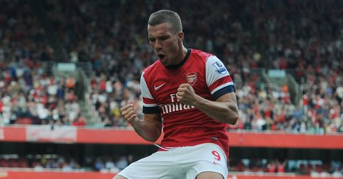 Punchy display: Lukas Podolski scored one of Arsenal's six goals against Southampton