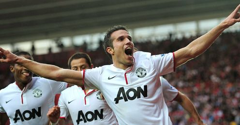 RVP: celebrates his hat-trick at St Mary's