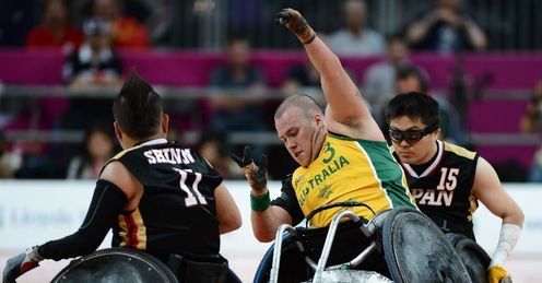 Ryley Batt 3 of Australia in action during the Mixed Wheelchair Rugby  Open semi final match between the Australia and Japan