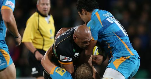 Soane Tonga uiha being tackled Northampton v Wasps Aviva Premiership