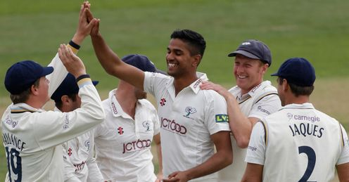 Moin Ashraf Yorkshire celebrating a wicket against Essex LV= County Championship