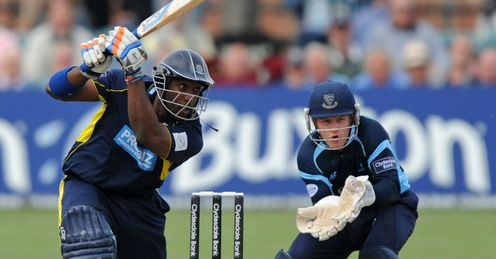 Michael Carberry Hampshire batting against Sussex in the Clydesdale Bank 40 semi-final at Hove