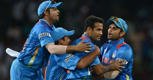 India celebrating a wicket for Irfan Pathan against England ICC World Twenty20