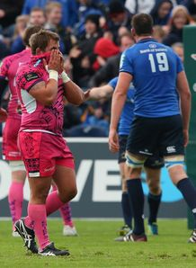 Ben Moon of Exeter Chiefs looks dejected after a narrow defeat to Leinster