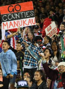 Counties Manukau fans with a sign