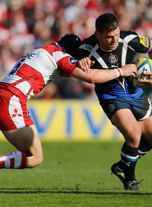 Gloucester v Bath Lee Mears tackled by Rob Cook