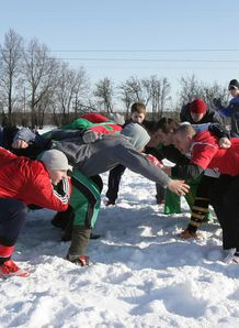 Lithuanian rugby team players train in Siauliai on March 6 2010