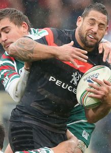 Luke McAllister Toulouse tackled by Toby Flood of Leicester Tigers Heineken Cup