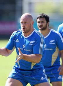 Owen Franks All Blacks training session blue 2012