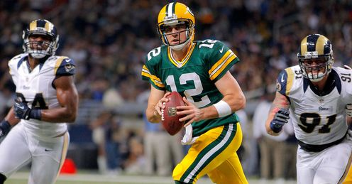 Aaron Rodgers: had enough firepower to see off the Rams