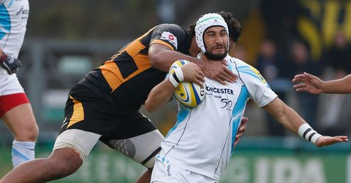 Blair Cowan tackled Wasps v Worcester Avia Premiership 2012