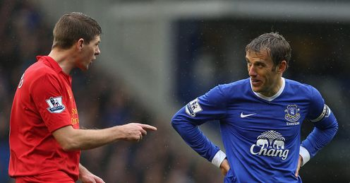 Neville: Everton skipper will clash with Liverpool's Gerrard for final time this weekend