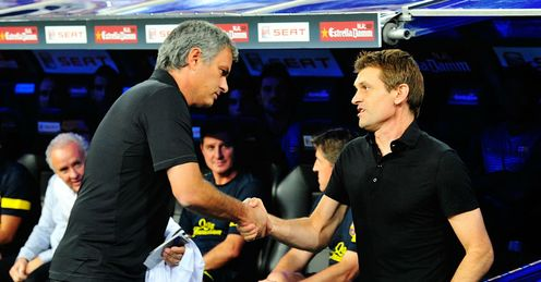 Changing times: Vilanova (right) has adopted a new philosophy at Barcelona