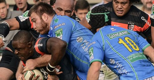 Yannick Nyanga tackled Treviso v Toulouse Heineken Cup