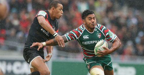 Manu Tuilagi Leicester Tigers tackled by Gail Fickou of Toulouse Heineken Cup