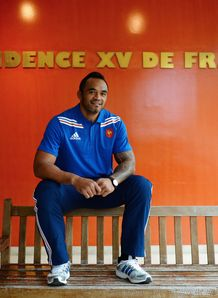 France s lock Jocelino Suta poses at camp