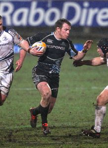 Glasgow Warrior s Chris Fusaro and Leinster s Shane Jennings Pro12