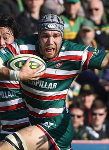 Graham Kitchener of Leicester Tigers runs with the ball during the LV Cup Final
