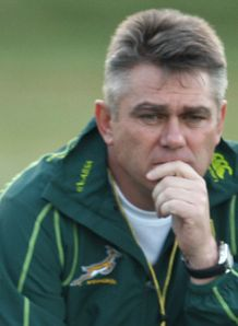 Heyneke Meyer at traiining with Boks