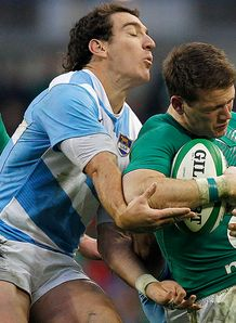 Ireland v Argentina Craig Gilroy is tackled by Santiago Fernandez