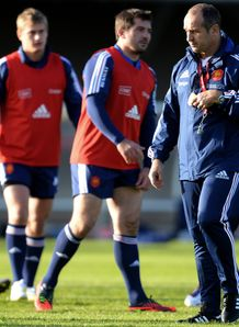 Philippe Saint Andre R participates in a training session