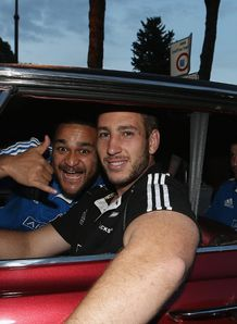 Piri Weepu Luke Romano and Beauden Barrett in a car