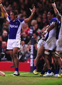 Samoa celebration v Wales autumn internationals