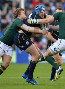 Sean Lamont Scotland is tackled by three South Africa