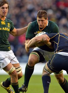 South Africa flank Willem Alberts taking contact