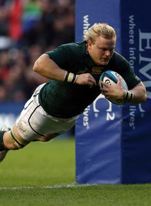 South Africa s hooker Adriaan Strauss scores his second try v Scotland