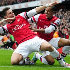 Giroud: Took aim for Gunners